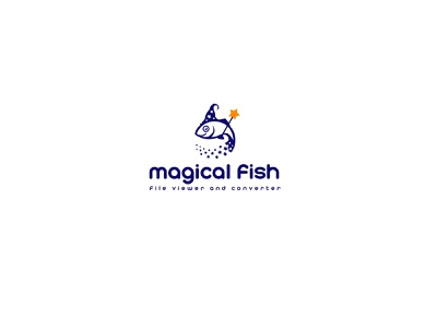 Magical Fish with Magic Wand logo design vector sweet illustration elegant minimalism amazing logo smart logo stars magical cartoon simple logo file converter wand fish logo magic logo magic wand magic fish