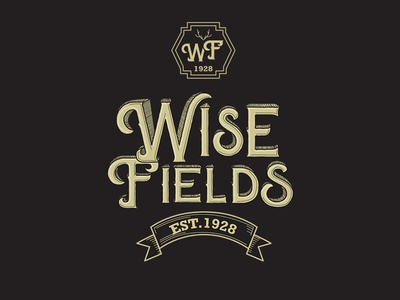 WiseFields beer logo traditional art elegant illustration logo designer lineart typography handmade hand drawn authentic brewery branding brewery logo beer logo logo design