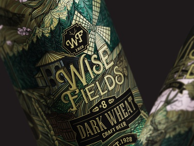 Wise Fields beer aluminum can label design mockup design front side wolf logodesign illustrator deer exceptional amazing hand drawn detailed line art fields wise beer beer art beer label beer can