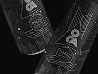 Beer label black and white line art design