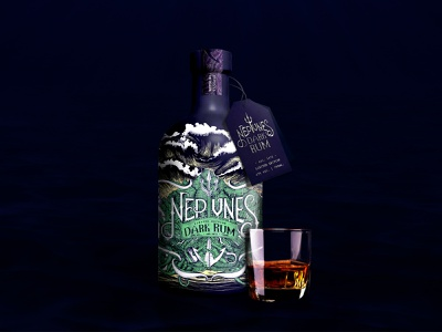 Neptune's Dark Rum Bottle Label Design logo high budget exclusive design complex art blue design herbs sketch drawing sharks sea waves elegant style underwater illustration design hand drawn unique design stunning design label packaging bottle label dark rum neptune