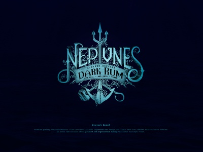 Neptune's Dark Rum Product Emblem ocean blue vector branding logo graphic illustration elegant detailed hand drawn line art drawingart neptune rum design emblem design