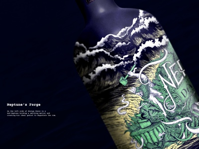 Neptune's Dark Rum Bottle Label Design art graphic smithing forge god sharks snakes ocean vibe marine theme aquatic designer portfolio illustraion hand drawn handmade detailed full print amazing label bottle label label design