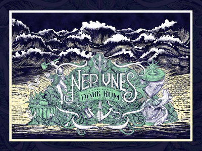 Neptune's Forge Dark Rum Label Design graphic vector art elegant rum design 2020 top amazing design ocean waves unique design detailed hand drawn bottle design label art label design dark rum forge neptune