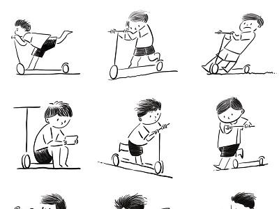 childhood life love wind life procreate ipad stick figures simple design skateboard children child childhood