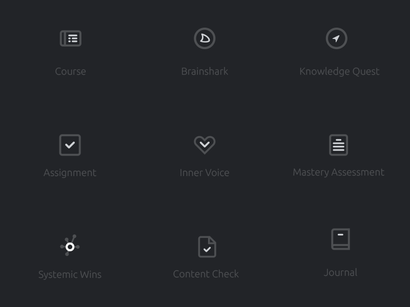 Icon Set for Activity Types icons outline stroke sidebar grey activities