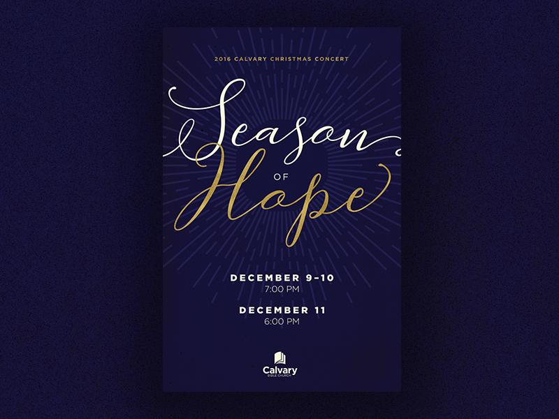 Season of Hope - Christmas Concert Poster foil gold script starburst poster concert christmas