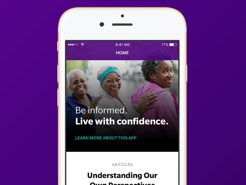 Healthcare Disparity App ladies photo purple ux iphone healthcare ui ios mobile app