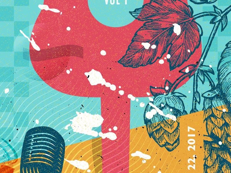 Event Poster Sneak Peek blue orange guitar beer hops event poster