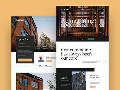 Community Developer Website Concept branding freight sans freight display photo real estate orange website