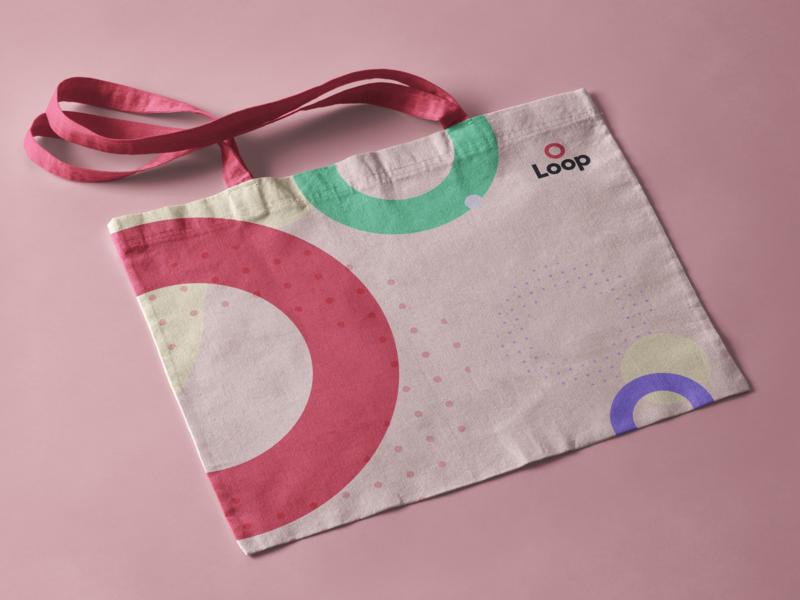 Loop Tote swag tote dots circle pink visual identity branding logo loop