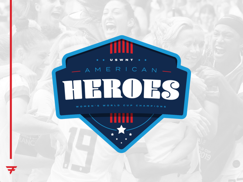 USWNT - American Heroes Badge icon vector illustration design fifa world cup fifa world cup futbol soccer sports champs championship champion branding brand uswnt blue white red badge