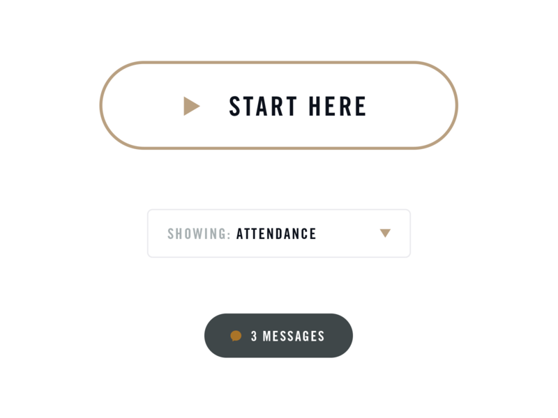 Buttons white gold gray outline icons play messages label input dropdown pill elements ux ui website web design buttons