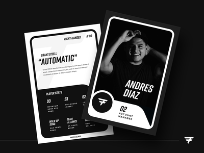 Player Cards stats internal project culture identity branding sports sporting sports branding sports marketing sports design white black forte player card baseball card cards