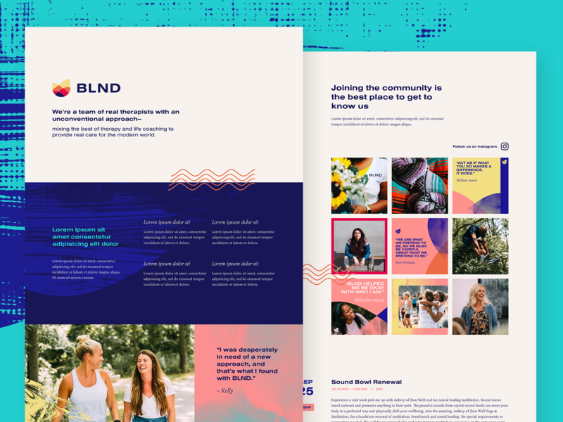 WIP - BLND Website pink blue wave desktop web visual identity branding design branding instagram lorem ipsum therapy wellness vibrant color texture patterns hifi website concept website design website