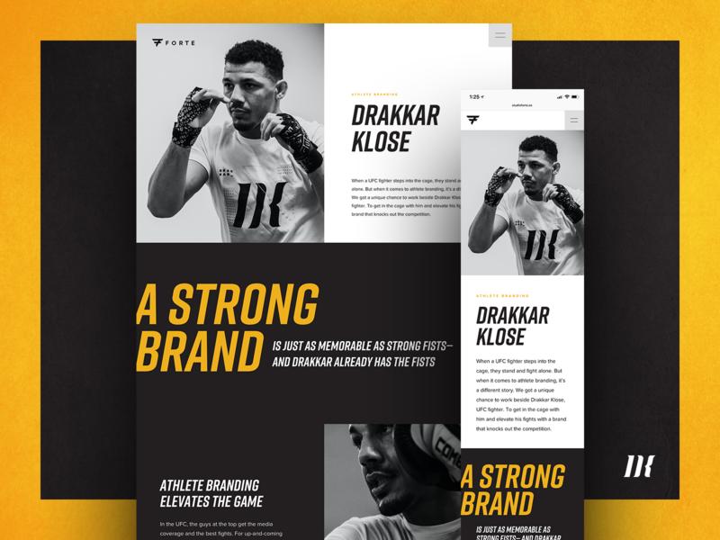 Drakkar Klose Case Study gold black sports marketing sports branding responsive website design website athlete branding branding case study mma ufc drakkar