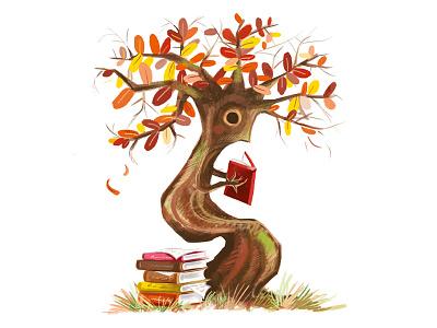 Fall Reading photoshop editorial spot fall digital painting school reading tree illustration