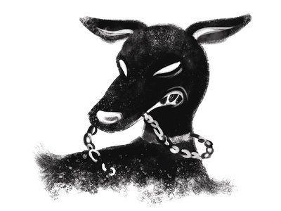 Hound band album music spot editorial dog hound shadow painting digital art illustration