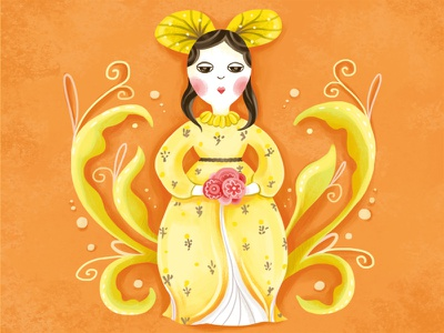 Staffordshire Pottery: 1 decoration colourful dress girl character photoshop digital art lady flower decorative painting digital art illustration