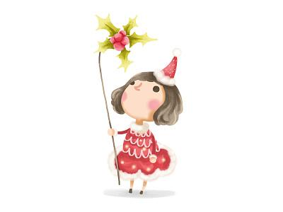 Holiday christmas mistletoe celebrate character digital art painting holiday photoshop art illustration