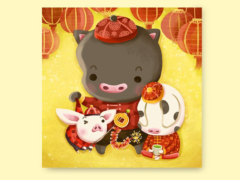 Happy Chinese New Year lanterns new year three little pigs chinese new year celebration pigs year of pig happy chinese new year happy new year digital art painting digital photoshop art illustration