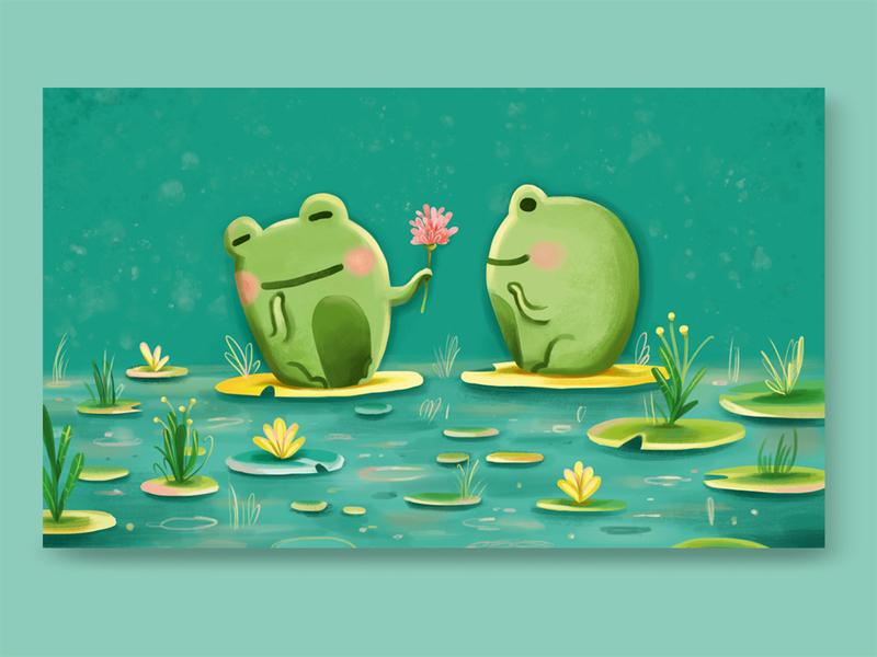 Happy Valentine's Day gift flower love frogs sweet valentines day valentine holiday digital painting digital art photoshop art illustration