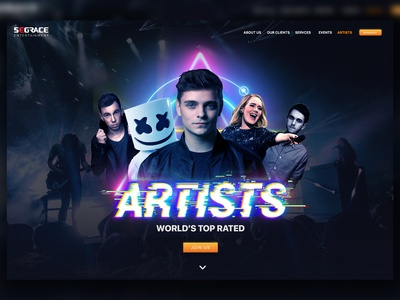 Entertainment WebSite Artist Landing Page