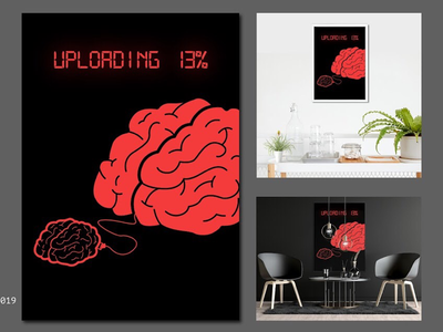 DATA vector poster take hot red amazing cool motivation cincept upload data mind brain abttact art