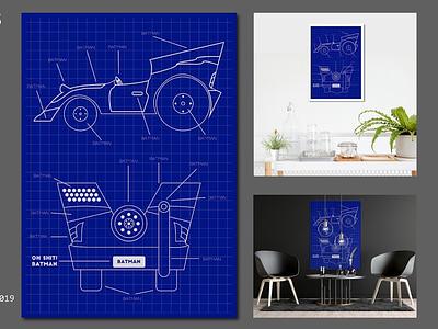VEHICLE player invite dribbbel blueprint batmobile batman vehicle poster art