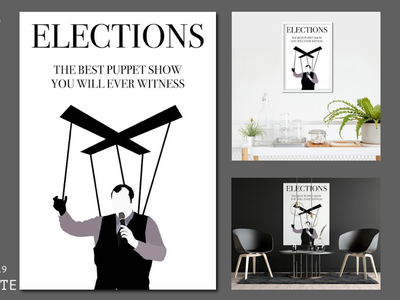 CANDIDATE black and white plain trend latest new government elections show puppet brain mind social poster art