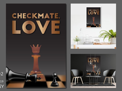 STRATEGY brown gradient mesh realistic charager queen king chess abstract poster art