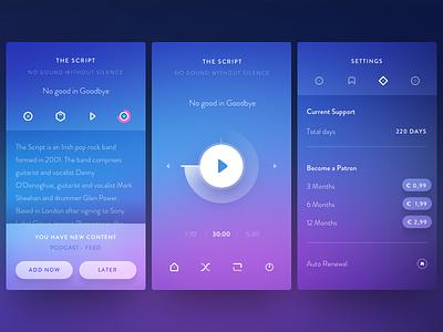 Cassette Inside modal patron profile app player music ui