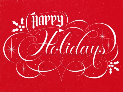 Happy Holidays card christmas lettering script happy holidays