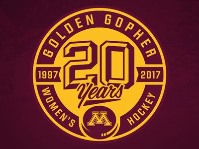 Gopher Women's Hockey 20 Years Logo
