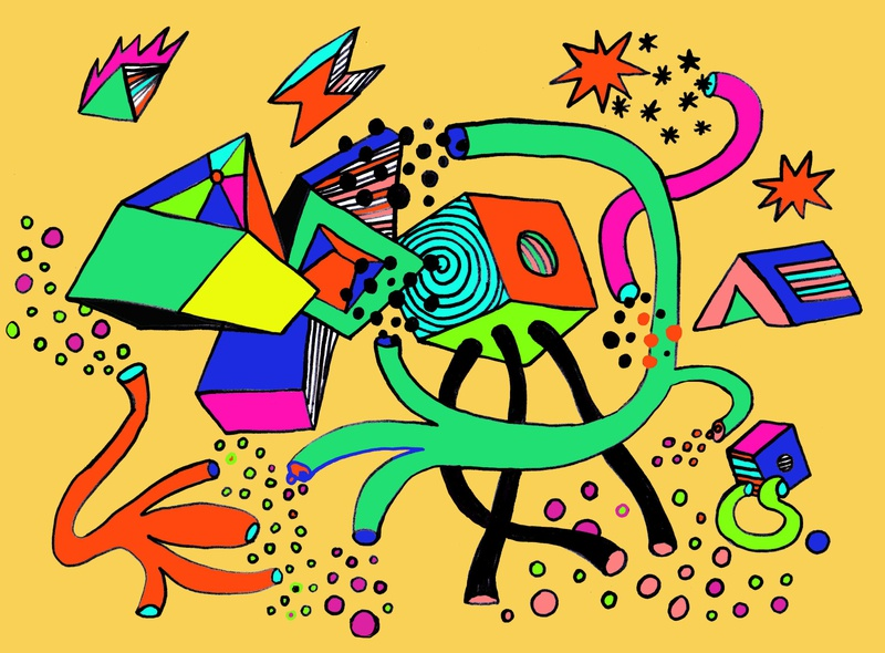 sketch of abstract geometry for wall painting