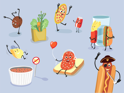 some elements from illustrations for Simple App funny character coda coconut vegetable hotdog fast food chips cartoon character food illustration food simple app vector illustration illustrator vector art illustration vector character