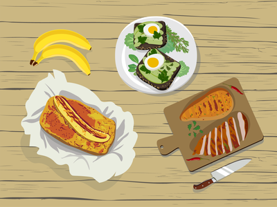food on the table simple app food colors illustrator vector illustration vector illustration