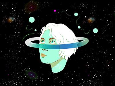 Dreamy friend portrait commission space girl portrait colors character illustrator vector art vector illustration vector illustration