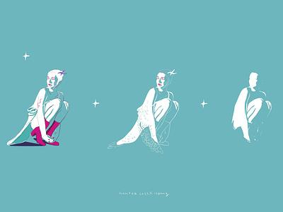 Hunter Schafer monochrome graphic fanart fashion girl portrait illustrator vector art character vector illustration vector illustration
