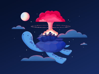 Drawing Challenge Maghlever — Flying Turtle flying drawing weapon bomb space cloud challenge illustration