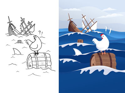 Chicken lost at sea — Drawing Challenge Maghlever water shipwreck sinking ship sea chicken drawing challenge sketch drawing challenge illustration