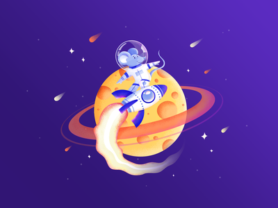 Spacemouse on a Rocket — Drawing Challenge astronaut cosmonaut planet drawing challenge rocket surfing cheese space mouse challenge illustration