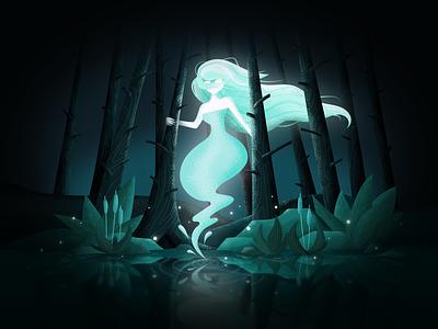 Spooky Season Weekly Warm-up spirit spooky season spooky halloween light forest lake ghost illustration challenge dribbbleweeklywarmup weekly warm-up