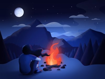 Campfire in the Mountains — Illustration nature moonlight night campfire mountains digital illustration digital art drawing illustration