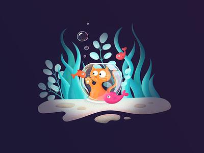 Cat in a Fishtank — Illustration underwater digital illustration fishtank fish cat sea drawing digital art digitalart illustration