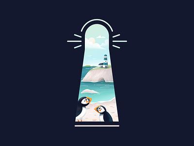 Lighthouse Illustration puffin beach sea lighthouse digital illustration digital art draw drawing illustration