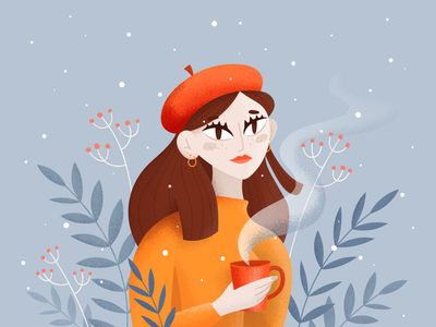 Wintery tea drawing drawthisinyourstyle snow cold girl woman character portrait winter coffee dtiys illustration