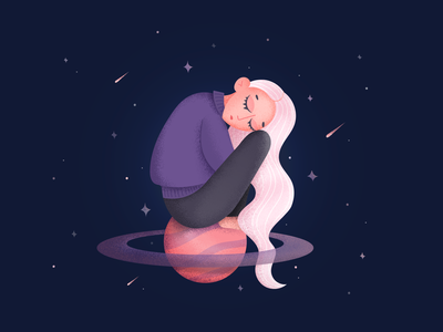 Dreamer character sitting woman girl planet sleep dreamer space drawing illustration