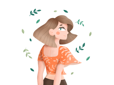 Breeze draw this in your style wind leaves breeze woman girl drawing character dtiys illustration