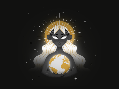 Earth Day woman stars space planet mother nature earth day earthday weeklywarmup drawing illustration